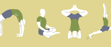 Illustrations in the Onward Facing Yoga App