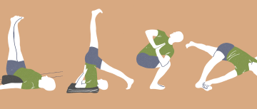 Illustrations of poses in Onward Facing Yoga